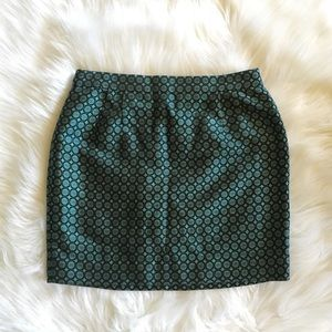 J. Crew Collection Silk Blue Design Textured Skirt